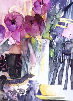 Purple Tulips - Watercolour 48 x 38 cm