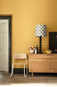 Little Greene Paint - Yellow walls with Black coloured skirting boards Coloured Skirting Boards, Wall Paint Combination, Yellow Hallway, Bedroom Yellow, Bedroom Black, Yellow Walls Living Room, Black Hallway, Bedroom Colors, Little Greene Paint