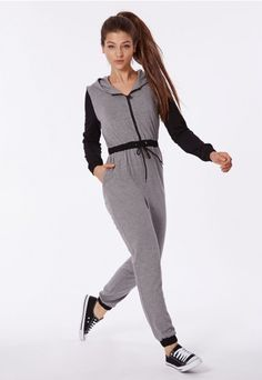 #Comfort and fierce style go hand in hand with the #Missguided #jersey hooded jumpsuit. In grey marl with contrasting #black sleeves, hood, drawstring waist and cuffs along with a zip down front. Style it with #tennis shoes and a snap back hat for urban #sportsluxe city style.