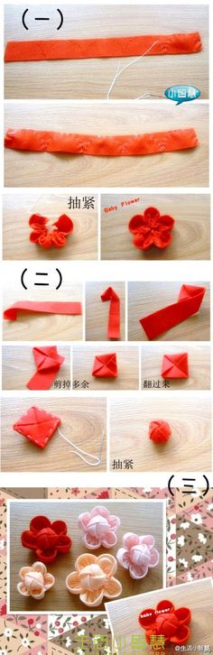 Love this easy fabric flower. It would look good with a bead in the center too.