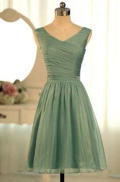 Short Bridesmaid Dresses SAGE Green Chiffon A-line V-neck Corset Wedding Party Dress MB145