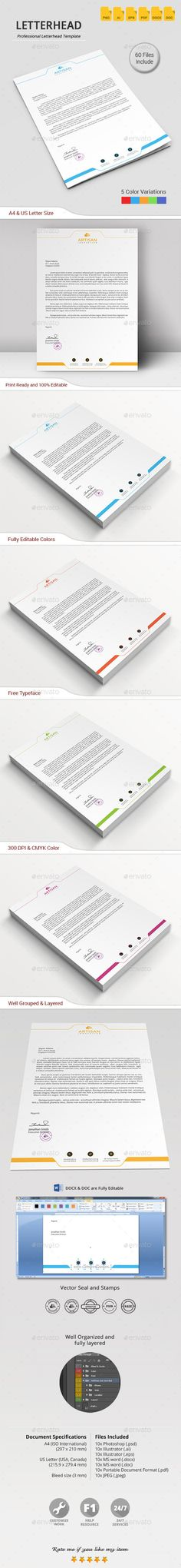 Slim Letterhead Pad With MS Word Doc Word doc, Stationery - letterhead sample in word