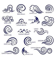 Set of isolated wave icons vector by transia on VectorStock® Catch the wave Wave Drawing, Doodle Drawing, Doodle Art, Body Art Tattoos, Small Tattoos, I Tattoo, Tatoos, Wave Tattoos, Tattoo Conchas
