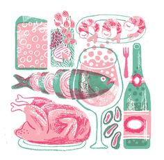JooHee Yoon. Illustrations from Le Monde Magazine for a feature on wine and wine paintings. c2014.