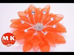 Канзаши мастер-класс.Заколка для волос.Цветок Канзаши из органзы/Kanzashi flower in organza hair pin - YouTube