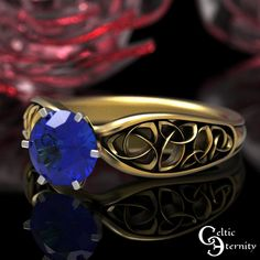 Celtic Gold Sapphire Engagement Ring Sapphire Solitaire Ring | Etsy Celtic Knot Ring, Celtic Rings, Mens Celtic Wedding Bands, Jewellery Shop Near Me, Celtic Engagement Rings, Sapphire Solitaire Ring, Platinum Wedding Rings, Thing 1, Beautiful Rings