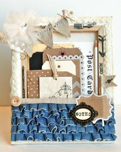 love the contrast on the bunting // cute idea of a canvas turned backward, decorated and filled with goodies