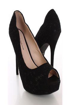 43769ddd2e4b Black Lace Peep Toe Pump Heels   Sexy Clubwear