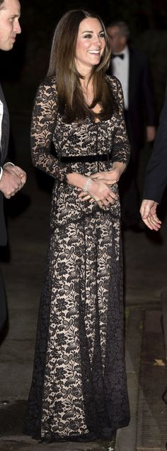 The Duchess attended a screening at theNatural History Museum, re-wearing one of her favorite gowns: the lace Temperley London. via StyleListCanada