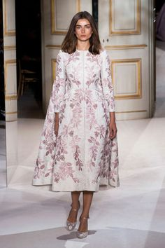White full coat embellished with pink, orchid, and mauve floral embroidery. Valentino Spring 2013 Couture