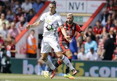 Summer signing Ibrahimovic controls the ball in one his first touches of the ball in the English top flight