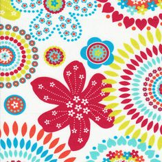 """Red  and Turquoise Large Floral 60"""" width  by Fabric Finders"""
