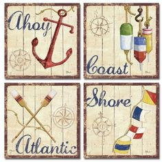 WallsThatSpeak 4 Nautical Themed Sailing Art Prints Sailboat Boating Decor, 12 by 12-Inch, Beige