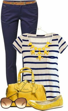 Love the blue pants with the splash of yellow