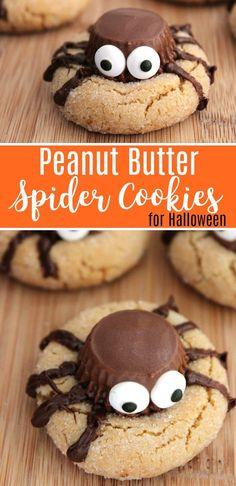 Halloween Peanut Butter Spider Cookies Recipe #Halloween #Cookies