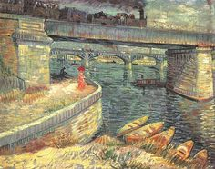 off Hand made oil painting reproduction of Bridges Across The Seine At Asnieres, one of the most famous paintings by Vincent Van Gogh. The Seine was a recurring subject in Vincent Van Gogh's artwork. In he made a whole series inspired by this river, pa. Georges Seurat, Rembrandt, Claude Monet, Dutch Artists, Famous Artists, Great Artists, Modern Artists, Vincent Van Gogh, Van Gogh Arte