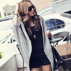 Woolen & Wool Sweater Coat, loose & thermal & breathable, knitted, Solid, more colors for choice, Size:Free Size - yyw.com