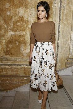 Miroslavia Duma in floral midi skirt, brown boatneck sweater, white pointed heels. Could be a friday outfit? via I really like the top Full Midi Skirt, Midi Skirts, Midi Skirt Outfit, Dress Skirt, Long Skirts, Skirt Outfits Modest, Modest Church Outfits, Jean Skirts, Skirt Pleated