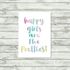 Happy Girls Are The Prettiest Print Watercolour Art Girls Room Decor Gift For Young Girl Colorful Audrey Hebpurn Quote Inspirational Prints by violetandalfie on Etsy