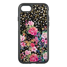 Modern watercolor spring floral and gold dots OtterBox symmetry iPhone x case - spring gifts style season unique special cyo Girly Phone Cases, Iphone 6 Cases, Iphone 8, Gold Dots, Gold Glitter, Apple Iphone 6, Teal Yellow, Pink Blue, Blossom Garden