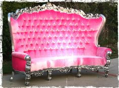 """Fabulous and Baroque's Absolom Roche 96"""" Curved Sofa - Silver Leaf Pink Velvet"""
