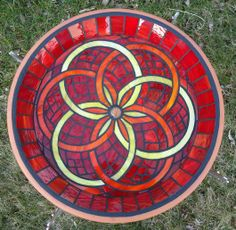 RED mosaic birdbath- by, dreamscape