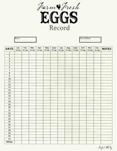 Chicken Egg Production Chart