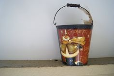 Rustic Snowman Pail Hand Painted Rustic Christmas by Ramshackles
