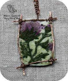 The landscape pendant Thistle  Felted pendant  Boho style  Hand-made by MarinaDyachenko on Etsy