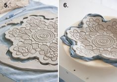 Maggie Weldon Lace Pottery--air dry two days (porcelain clay) Clay Projects, Diy Projects To Try, Clay Crafts, Fun Crafts, Diy And Crafts, Porcelain Clay, Cold Porcelain, Pottery Plates, Ceramic Pottery