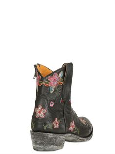 MEXICANA - 40MM FLORAL EMBROIDERED LEATHER BOOTS - LUISAVIAROMA - LUXURY SHOPPING WORLDWIDE SHIPPING - FLORENCE