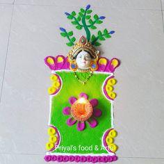 Tulsi Vivah, Festival Rangoli, Colorful Rangoli Designs, Simple Rangoli, God, Christmas Ornaments, Holiday Decor, Home Decor, Dios