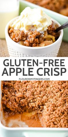 Bake a simple and easy gluten-free apple crisp with a crispy.- Bake a simple and easy gluten-free apple crisp with a crispy, cinnamon, brown sugar, oatmeal topping. Best served with a scoop of vanilla ice cream! Dessert Simple, Bon Dessert, Gluten Free Sweets, Gluten Free Cooking, Dairy Free Recipes, Gluten And Dairy Free Desserts Easy, Gluten Free Dinners, Gluten Free Sugar Cookies, Dairy Free Snacks