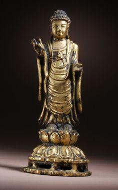 Miniature Figurine Brass Statue of Buddha Metalwork Art #78