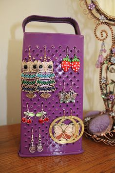 Earring Display (using an old grater!)