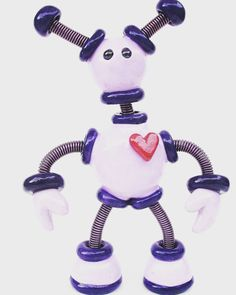 Flashback Friday moment little Purple Paige the robot from 2010 was about 3 inches tall | Handmade by HerArtSheLoves of Robots Are Awesome http://theawesomerobots.com
