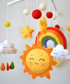 Baby mobile Rainbow Clouds mobile Moon mobile Nursery mobile