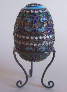 Antique Russian Enameled Silver Egg Thimble Holder; Circa 1900