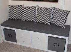 Cool bench made from an IKEA kallax and some pillows ähnliche Projekte und Ideen wie im Bild vorgestellt findest du auch in unserem Magazin