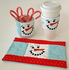 In The Hoop :: Beverage & Food :: Snowman Beverage Set - Embroidery Garden In the Hoop Machine Embroidery Designs