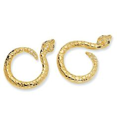 Gold-plated Sterling Silver CZ Snake Post Earrings - JewelryWeb JewelryWeb. $59.70. Save 50%!