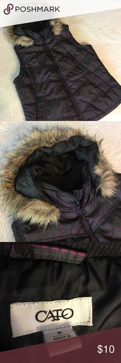 Medium Plaid Cato Puff Vest With Faux Fur Hood This Cato's Vest is very cute and perfect for this upcoming colder weather ! It has pockets and the hood is removable by back zipper! Cato Jackets & Coats Vests