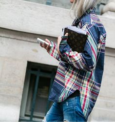 January Style Tips - cozy yet chic oversize plaid with distressed denim