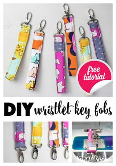 You can sew a cute wrist strap key fob with my fast and easy sewing tutorial. Of all the DIY projects I've sewn and gifted to people, wristlet keychain fobs are the ones that people ask for again… Small Sewing Projects, Sewing Projects For Beginners, Sewing Hacks, Sewing Crafts, Diy Projects, Sewing Tips, Tape Crafts, Easy Seeing Projects, Crafts To Sew