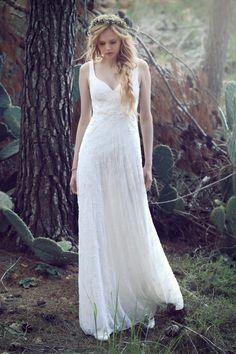 b59ee13f6c1 Lihi Hod Bohemian Wedding Dresses V-Neck Sleeveless Gorgeous Bridal Gowns  Zipper Back Floor Length Lace Dresses