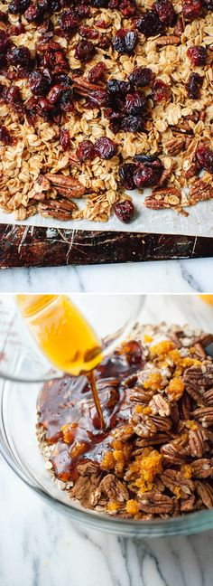 Learn how to make extra clumpy, maple-sweetened, cranberry orange granola! cookieandkate.com