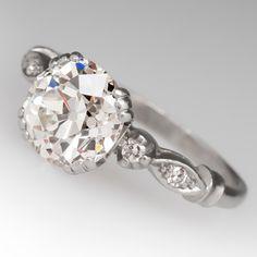 1920's 2.25 carat Old European cut diamond antique engagement ring