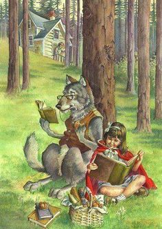 Red & The Wolf reading Grimms