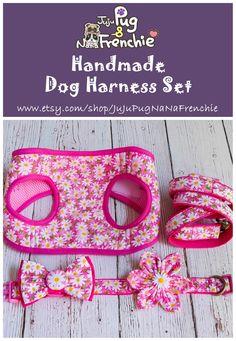 Floral Girl dog harness leash set #dogharness #dogcollar #dogleash Boy Dog, Girl And Dog, Collar And Leash, Dog Collars, Dog Harness, Dog Leash, Big Dog Little Dog, Flower Dog, Pink Dog