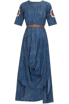KARIESHMA SARNAA Navy blue thread embroidered motif high low draped dress with brown leather belt